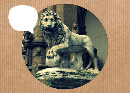 signoria square: Medici lion with white blank speech bubble at Signoria square in Florence, Italy