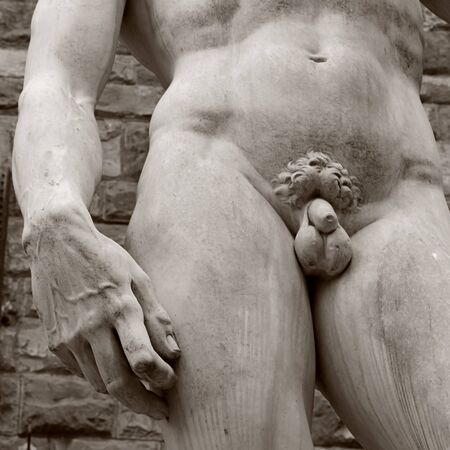 michelangelo: Detail of statue David of Michelangelo, Florence, Italy. Square toned monochrome image Stock Photo