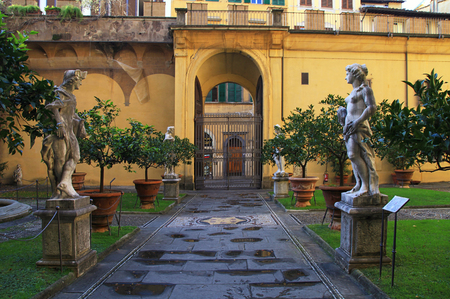 medici: FLORENCE, ITALY - JANUARY 12, 2016: Inner courtyard of Medici Riccardi Palace. Florence, Italy Editorial