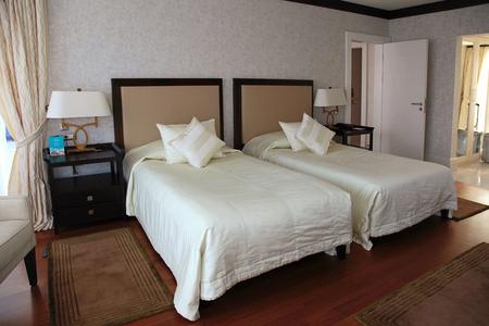 kingsize: BELEK, TURKEY - JULY 12, 2015: Modern hotel interior bedroom in Belek, Turkey.
