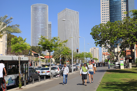azrieli: TEL AVIV, ISRAEL - APRIL 7, 2016 : Cityscape with towers of Azrieli Center and Sarona area in Tel Aviv, Israel. Azrieli center is the main landmark of Tel Aviv. Editorial