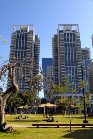 gastro: TEL AVIV, ISRAEL - APRIL 7, 2016 : People in park on Sarona Market area near Gindi buildings in Tel Aviv, Israel. Recently open Sarona Market became the most popular place in Tel Aviv.