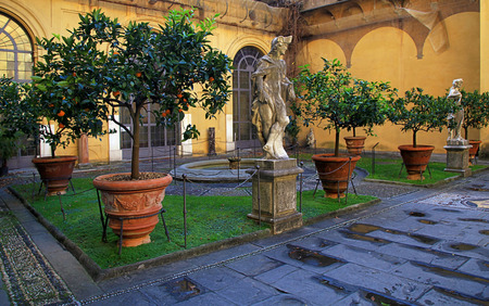 Inner courtyard of Medici Riccardi Palace. Florence, Italy