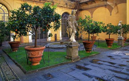 medici: Inner courtyard of Medici Riccardi Palace. Florence, Italy