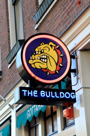 coffeeshop: AMSTERDAM, NETHERLANDS - MAY 5, 2016: Bulldog coffeeshop in Amsterdam, Netherlands. Bulldog was the first coffeshop and laid the benchmark for the contemporary coffeeshop.