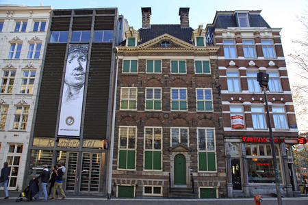 printmaker: AMSTERDAM, NETHERLANDS - MAY 5, 2016: Rembrandt House Museum (Museum Het Rembrandthuis) entrance in Amsterdam, Netherlands. Rembrandt van Rijn is generally considered one of the greatest painters in European art Editorial