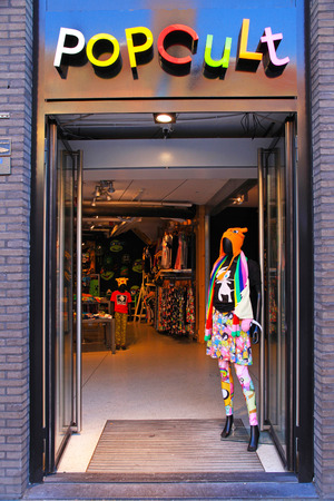 cult: AMSTERDAM, THE NETHERLANDS - MAY 3, 2016: Pop Cult fashion store on the Damrak main street in Amsterdam, Netherlands. Editorial