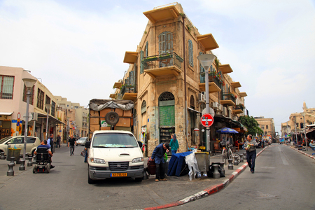 yaffo: TEL AVIV-JAFFA, ISRAEL - APRIL 5, 2016:The Flea Market, Shuk Hapishpeshim on old streets of Jaffa, Tel Aviv, Israel. Editorial