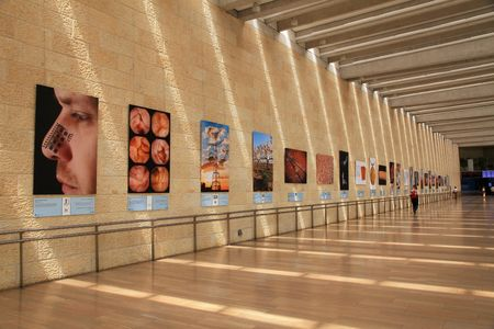 TEL AVIV, ISRAEL - APRIL 8, 2016: Israels Ben Gurion international airport, Terminal 3 Departure Hall, Tel Aviv, Israel. We can see the achievements of Israeli science and technology on the walls