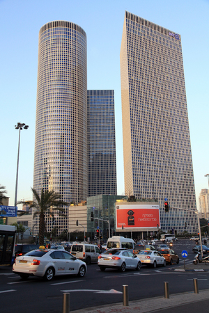 TEL AVIV, ISRAEL - APRIL 7, 2016 : View of Azrieli Center in Tel Aviv, Israel. Azrieli center is the complex of 3 skyscrapers and the largest shopping mall in Israel.