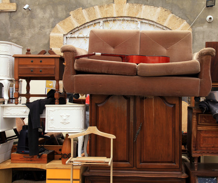 Vintage furniture and other staff at Jaffa flea market district in Tel Aviv-Jaffa, Israel.