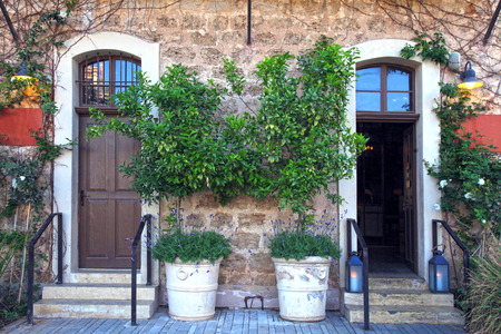 traditional plants: Doors, plants and flowers in a traditional stone mediterranean house Stock Photo