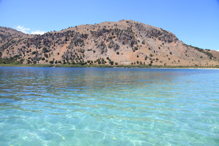 Lake Kournas, Crete, Greece. Beautiful view of largest freshwater lake at Crete.