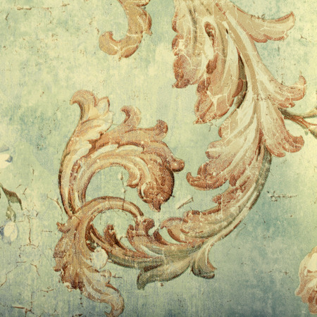 victorian wallpaper: Detail of vintage shabby chic wallpaper with floral victorian pattern and craquelure, square vintage toned image