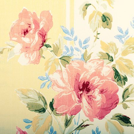 victorian wallpaper: Detail of vintage wallpaper with rose floral victorian pattern, square toned image Stock Photo