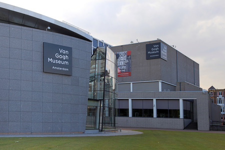 van gogh: AMSTERDAM, NETHERLANDS - MAY 4, 2016: Van Gogh Museum in Amsterdam, Netherlands. It has the largest collection of Van Goghs paintings and drawings in the world.