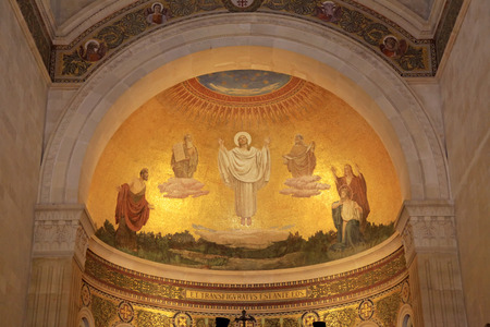 The scene of the biblical event of transfiguration of Jesus Christ - fresco in the Church of the Transfiguration, Mount Tabor, Galilee, Israel. Editorial