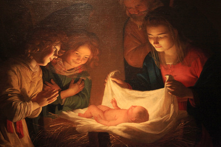 "FLORENCE, ITALY - JANUARY 10, 2016: ""Adoration of the Child"" Gerard van Honthorst (Gherardo delle Notti) Christmas Painting, Uffizi Gallery, Florence, Italy."