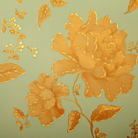 victorian wallpaper: Vintage gold and blue shabby chic wallpaper with floral victorian pattern, square image Stock Photo