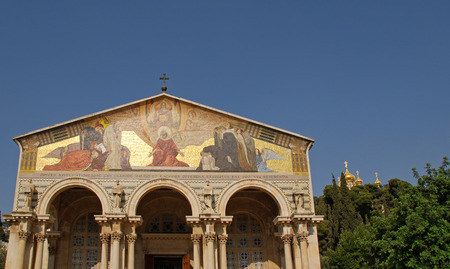 The Church of All Nations or Basilica of the Agony, is a Roman Catholic church near the Garden of Gethsemane at the Mount of Olives in Jerusalem, Israel. Blue sky background