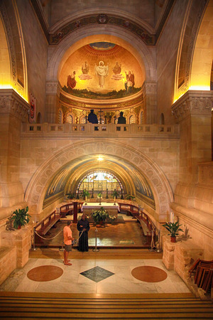new testament: MOUNT TABOR, ISRAEL - AUGUST 19, 2016: interior with fresco in the Church of the Transfiguration, Mount Tabor, Galilee, Israel.