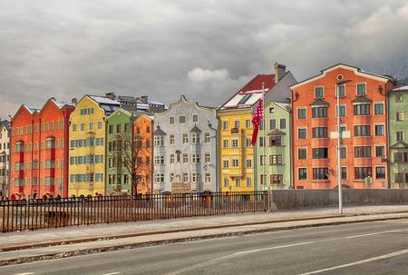 Multicolored historical houses on Mariahilfstrasse, Innsbruck, Austria