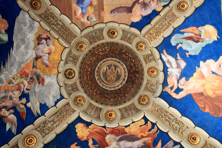 Part of ornamental fresco ceiling in Vatican museum, Rome, Italy
