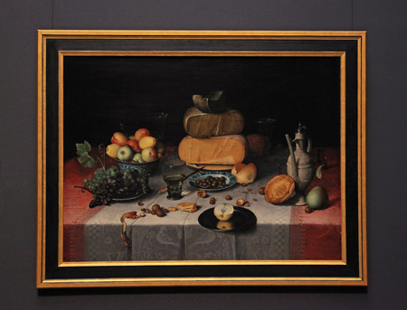 AMSTERDAM, THE NETHERLANDS - MAY 4, 2016: Classical still life with fruit, cheese, nuts and wine at the Rijksmuseum in Amsterdam, Netherlands.