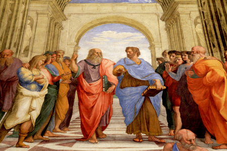 ROME, ITALY - JULY 15, 2017: The School of Athens, Raphael room's in Museums of Vatican, Rome, Italy. The fresco of the 16th century in one of the rooms of Raphael (Stanze di Raffaello) in the Vatican Museum. Redactioneel