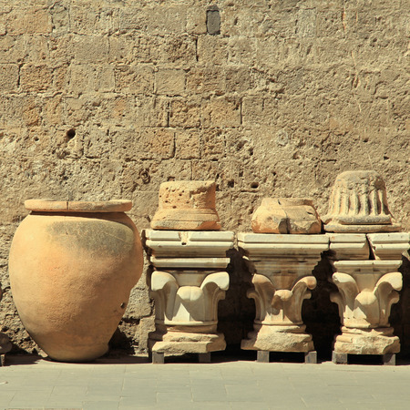 Detail of ancient antique italian columns and vase, Italy. Square toned image, antique background
