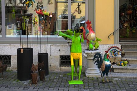 Fun toys and home decor in small souvenir shop, Switzerland