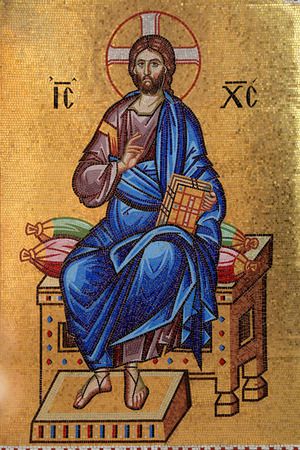 Golden Byzantine mosaic of Jesus Christ, Cyprus Stock Photo - 93583432