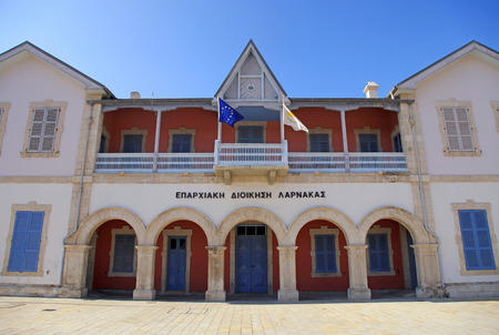 LARNACA, CYPRUS - JANUARY 6, 2018: Larnaca District Administration on Europe Square in Larnaca, Cyprus. First colonial buildings built by the British, restored to accommodate a museum, art gallery & cultural services.