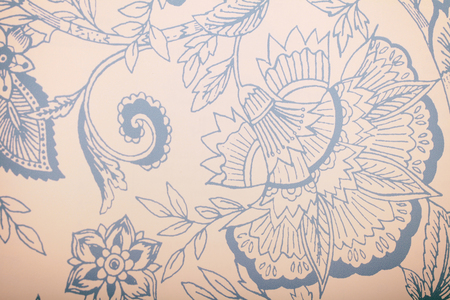Vintage blue wallpaper with floral pattern. White vintage wallpaper with blue vignette victorian pattern, toned image Stock Photo