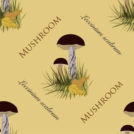 spore: Seamless pattern mushrooms collection. Boletus Brown Cap Design with words Mushroom Leccinium Scabrum. Illustration