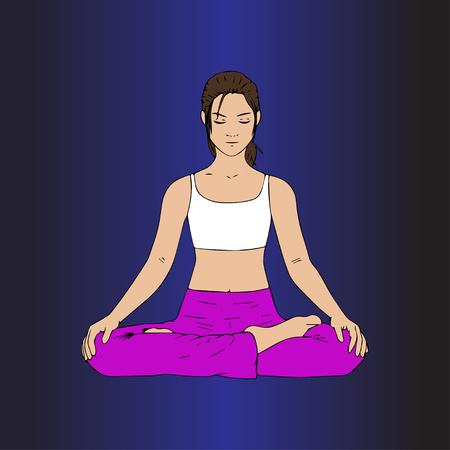 Indian Yoga Lotus Pose. Eastern girl in Lotus pose. Illustration