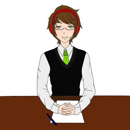 helper: Call Center operator. Boy Helper with headset.