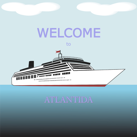 Cruise Liner Ship Isolated. White Cruise Liner with words Welcome to Atlantida.