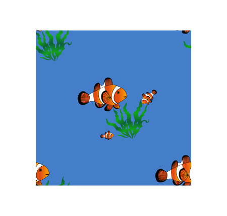 clownfish: Seamless pattern. Marine Design pattern with algae and clownfish. Blue ocean background.