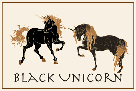 Black unicorn with golden mane isolated on a beige frame. Black horses in the desert.