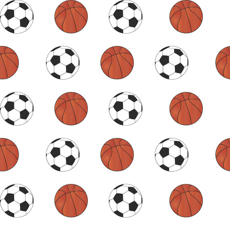 Seamless Pattern with Basketball and Football.
