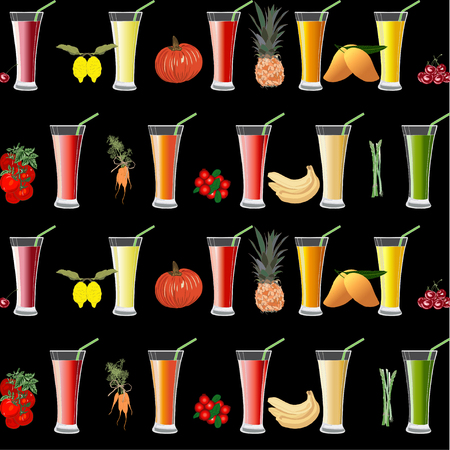 Seamless Pattern with Exotic Fresh Juice and Fruits and Vegetables on black. Glass of Juice with Straw. Illustration