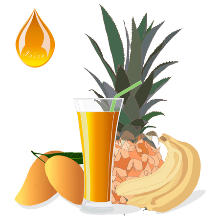 Glass of Fresh Fruit Juice with Pineapple, Banana and Mango. Natural food.