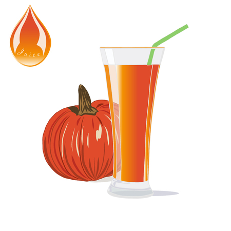 Glass of Vegetables Juice with pumpkin. Healthy Food. Illustration