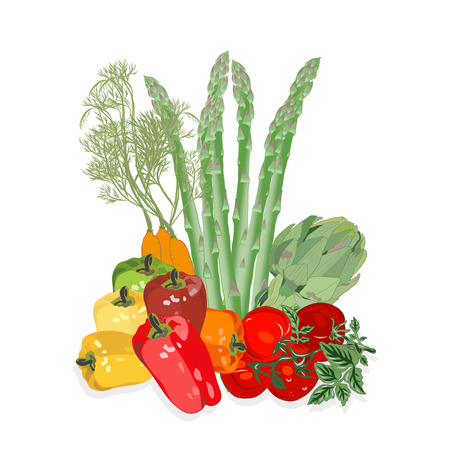 Vegetables isolated on white. Natural Food.