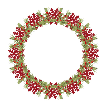 Christmas Wreath with Cranberries. Vector Illustration.