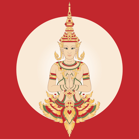 Traditional Thai Symbol. Golden Thai Ornament. Welcome to Thailand. Vector Illustration.