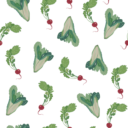 Seamless Pattern with Cabbage and Turnip. Ilustrace