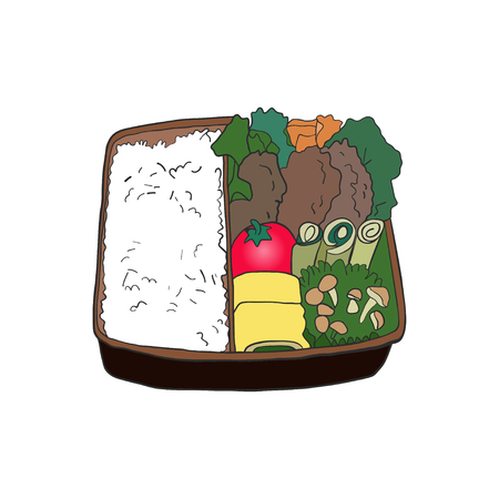 Bento asian lunch box. Vector Illustration. Çizim
