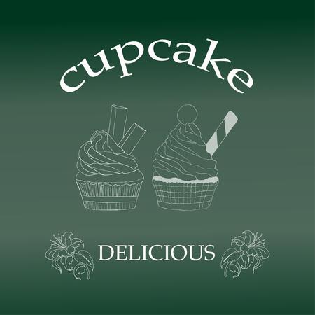 Cupcake isolated on green. Vector Illustration. Illustration